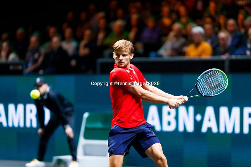 Rotterdam, The Netherlands, 12 Februari 2020, ABNAMRO World Tennis Tournament, Ahoy. David Goffin (BEL).<br /> Photo: www.tennisimages.com