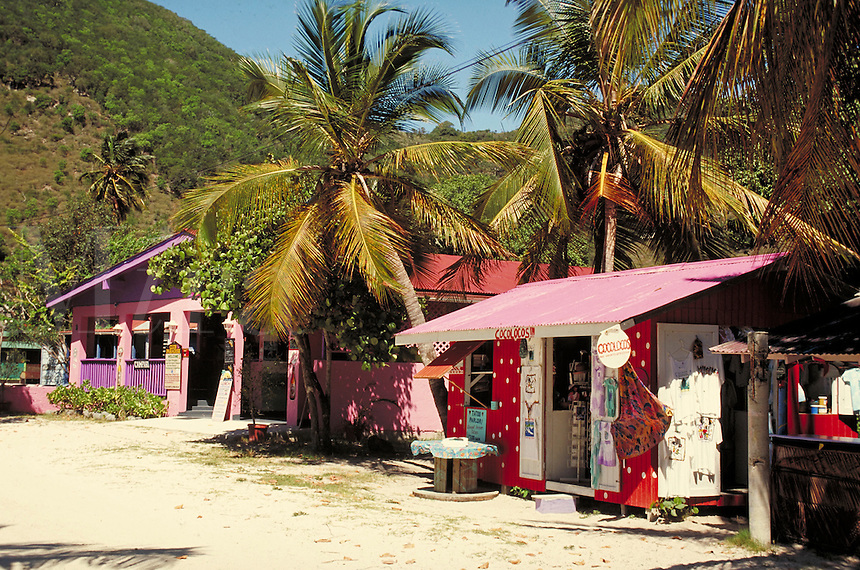colorful stores on beach of Great Harbor. Jost Van Dyke, British Virgin Islands Caribbean.
