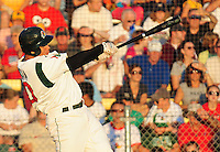 Jon Pierre Garcia homers in the bottom of the 1st to bring in the first 2 runs for the Madison Mallards, as they take on the Green Bay Bullfrogs on Monday night, 8/16/10, at the Duck Pond in Madison, Wisconsin