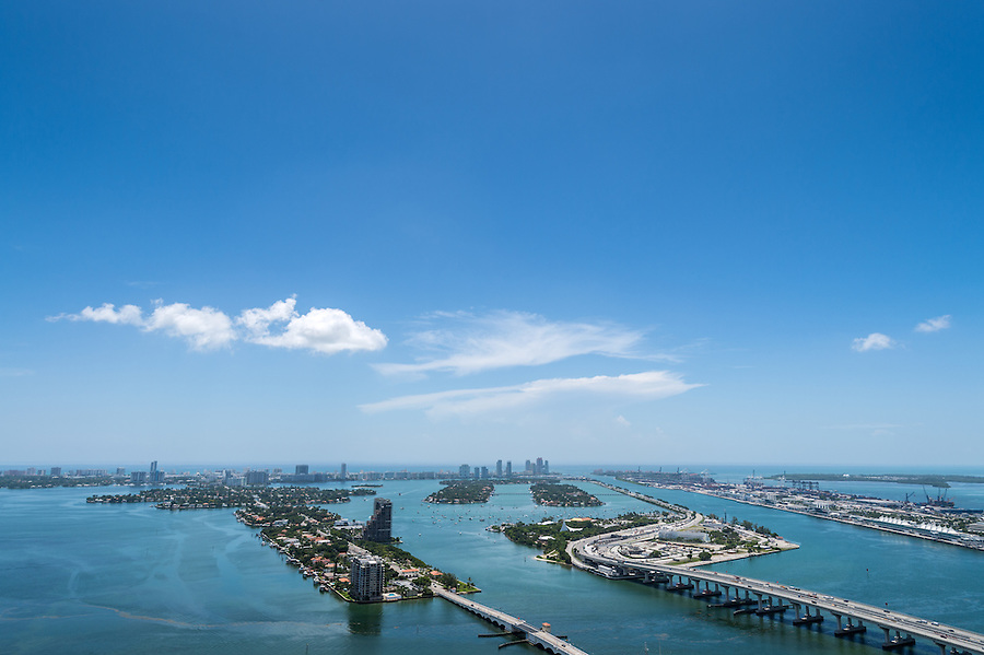 Aerial View of Biscayne Bay, Miami Beach, Watson Island and Miami Seaport.