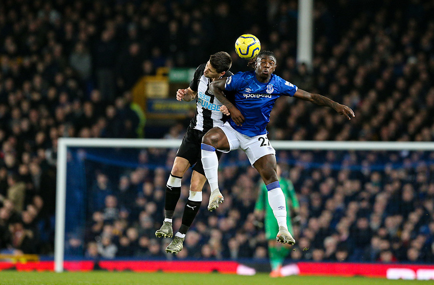 Everton's Moise Kean battles with Newcastle United's Federico Fernandez<br /> <br /> Photographer Alex Dodd/CameraSport<br /> <br /> The Premier League - Everton v Newcastle United  - Tuesday 21st January 2020 - Goodison Park - Liverpool<br /> <br /> World Copyright © 2020 CameraSport. All rights reserved. 43 Linden Ave. Countesthorpe. Leicester. England. LE8 5PG - Tel: +44 (0) 116 277 4147 - admin@camerasport.com - www.camerasport.com