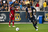 Bakary Soumare (4) of the Philadelphia Union. The Chicago Fire defeated the Philadelphia Union 3-1 during a Major League Soccer (MLS) match at PPL Park in Chester, PA, on August 12, 2012.