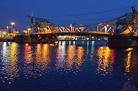 The Jefferson Stret Bridge crosses the DesPlaines River, Joliet, IL