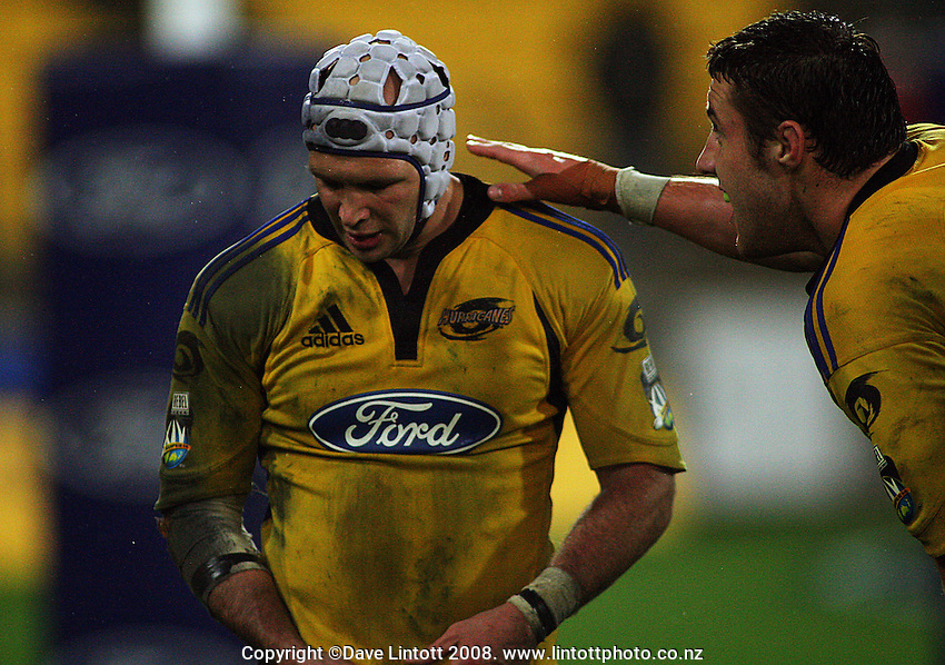 Jeremy Thrush consoles Scott Waldrom after the flanker failed to score off his grubber kick. Super 14 match. Hurricanes v Western Force at Westpac Stadium, Wellington. Friday, 9 May 2008. Photo: Dave Lintott / lintottphoto.co.nz