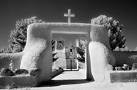 Entryway to St. Francis church in infrared.<br /> <br /> Nikon F3HP, 24mm lens, Kodak High Speed Infrared film, red filter