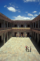 Interior courtyard of the Alhondiga de Granaditas in the city of Guanajuato Mexico. This former granary and fortress is now a history and art museum.