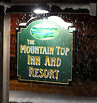 Snowy night at The Mountain Top Inn and Resort near Kilington, Vermont