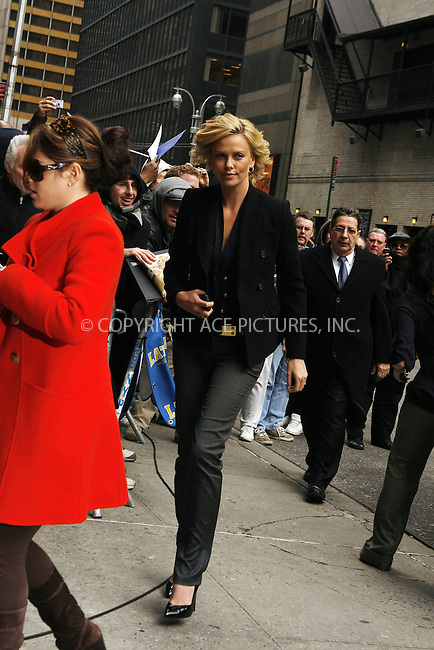 WWW.ACEPIXS.COM . . . . .  ....March 12 2008, New York City....Actress Charlize Theron made an appearance at the 'Late Show with David Letterman' at the Ed Sullivan Theatre in midtown Manhattan,....Please byline: AJ Sokalner - ACEPIXS.COM..... *** ***..Ace Pictures, Inc:  ..te: (646) 769 0430..e-mail: info@acepixs.com..web: http://www.acepixs.com