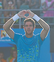 JUAN MARTIN DEL POTRO (ARG) against PHILIPP KOHLSCHREIBER (GER) in the fourth round of the Men's Singles. Juan Martin Del Potro beat Philipp Kohlschreiber 6-4 6-2 6-1..22/01/2012, 22nd January 2012, 22.01.2012 - Day 7..The Australian Open, Melbourne Park, Melbourne,Victoria, Australia.@AMN IMAGES, Frey, Advantage Media Network, 30, Cleveland Street, London, W1T 4JD .Tel - +44 208 947 0100..email - mfrey@advantagemedianet.com..www.amnimages.photoshelter.com.