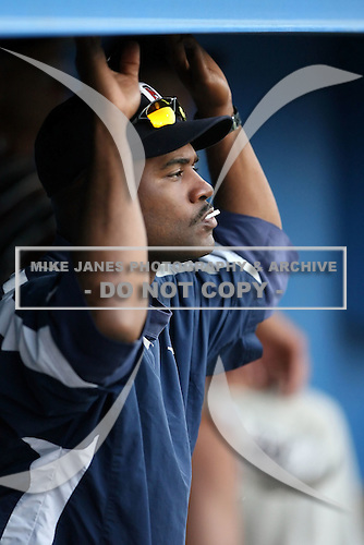 July 23 2008:  Pitching Coach Alan Mills of the Oneonta Tigers, Class-A affiliate of the Detroit Tigers, during a game at Dwyer Stadium in Batavia, NY.  Photo by:  Mike Janes/Four Seam Images