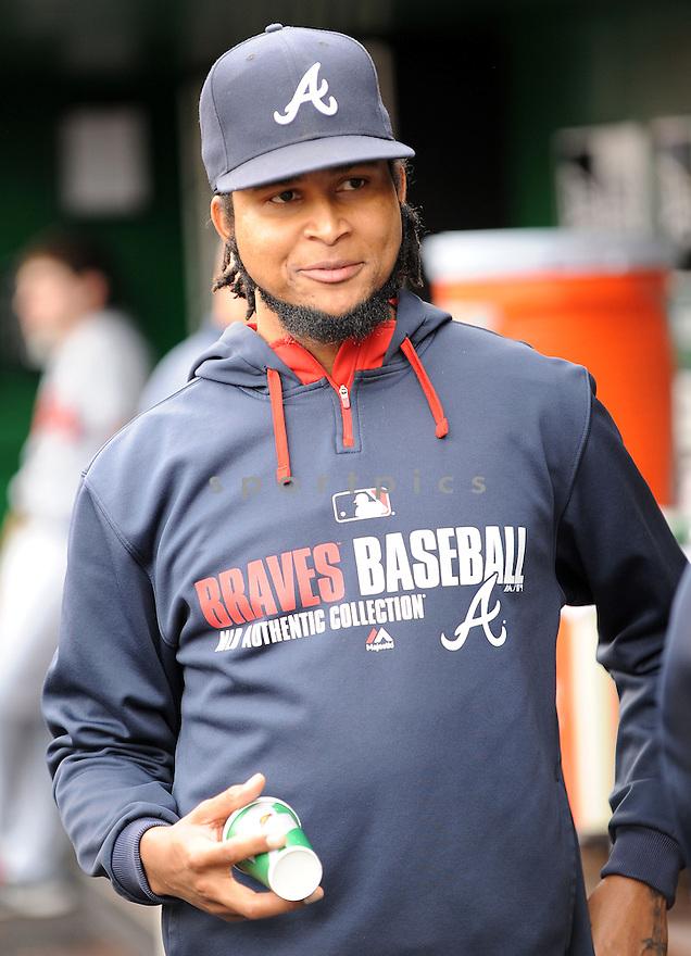Atlanta Braves Ervin Santana (30) during a game against the Washington Nationals on September 10, 2014 at Nationals Park in Washington DC. The Braves beat the Nationals 6-2.