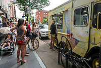 Brooklyn, New York - 12 July 2015 - People queue up for ice cream on Bedford Avenue in the Williamsburg neighborhood of New York City