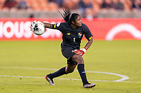 HOUSTON, TX - JANUARY 28: Yenith Bailey #1 of Panama throws out the ball during a game between Costa Rica and Panama at BBVA Stadium on January 28, 2020 in Houston, Texas.
