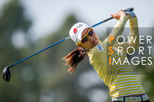 Char-Young Kim of Korea hits her shot during the Hyundai China Ladies Open 2014 at World Cup Course in Mission Hills Shenzhen on December 14 2014, in Shenzhen, China. Photo by Xaume Olleros / Power Sport Images