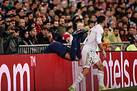 26th November 2019; Estadio Santiago Bernabeu, Madrid, Spain; UEFA Champions League Football, Real Madrid versus Paris Saint Germain; Kylian Mbappe (PSG) goes over the advertising hoarding during the match  - Editorial Use