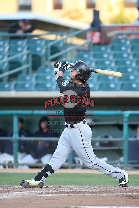 Austin Cousino (3) of the Bakersfield Blaze bats against the Lancaster JetHawks at The Hanger on April 28, 2016 in Lancaster, California. Lancaster defeated Bakersfield, 5-4. (Larry Goren/Four Seam Images)