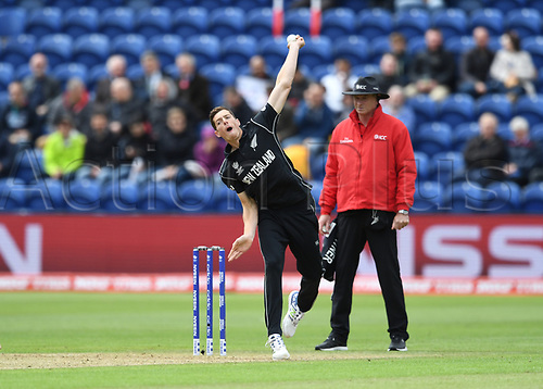 Jun 6th, The SSE SWALEC, Cardiff, Wales; ICC Champions Trophy; England versus New Zealand; Mitchell Santner of New Zealand bowls