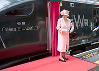 13 June 2017 - Queen Elizabeth II at London Paddington Station, marking the 175th anniversary of the first train journey by a British monarch. The Queen and The Duke of Edinburgh traveling from Slough to London Paddington on a Great Western Railway train, recreating the historic journey made by Queen Victoria on 13th June 1842. Photo Credit: ALPR/AdMedia