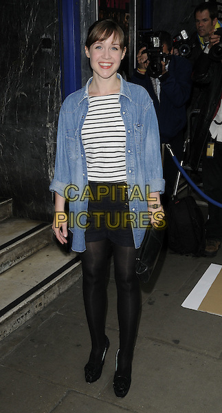 SCARLETT ALICE JOHNSON.Attending UK Film Premiere of 'Pimp' at Odeon Covent Garden, London, England, May 19th 2010. .arrivals full length denim shirt red lipstick black and white nautical striped top clutch bag skirt tights platform shoes.CAP/CAN.©Can Nguyen/Capital Pictures.