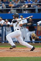 Johnny Aiello (2) of the Wake Forest Demon Deacons follows through on his swing against the Florida Gators in Game Two of the Gainesville Super Regional of the 2017 College World Series at Alfred McKethan Stadium at Perry Field on June 11, 2017 in Gainesville, Florida.  (Brian Westerholt/Four Seam Images)