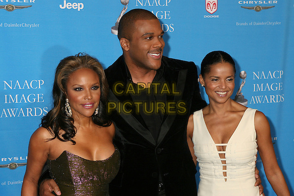 LYNN WHITFIELD, TYLER PERRY & VICTORIA ROWELL.NAACP Image Awards, The Shrine Auditorium, .Los Angeles, California, USA,.25 February 2006..half length.Ref: ADM/BP.www.capitalpictures.com.sales@capitalpictures.com.©Byron Purvis/AdMedia/Capital Pictures.