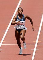 Lauryn Williams  ran 11.41sec. in the 1st. round of the 100m. on Sunday, August 26, 2007. Photo by Errol Anderson,The Sorting Image.
