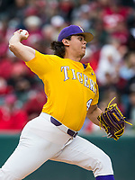 NWA Democrat-Gazette/BEN GOFF @NWABENGOFF<br /> Todd Peterson pitches for LSU in the 6th inning vs Arkansas Saturday, May 11, 2019, at Baum-Walker Stadium in Fayetteville.