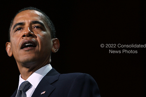 New York, NY - September 9, 2009 -- United States President Barack Obama speaks at a tribute to the late television journalist Walter Cronkite September 9, 2009 at Lincoln Center in New York City. Numerous dignitaries attended the morning memorial service for the former CBS anchorman who died in July. Obama is returning to Washington later today to deliver a major prime-time address to a joint session of Congress on health care. .Credit: Spencer Platt / Pool via CNP