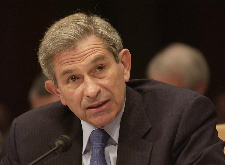 4/20/04.U.S. POLICY AND OPERATIONS IN IRAQ AND AFGHANISTAN--Paul D. Wolfowitz, deputy secretary of Defense, during the Senate Armed Services hearing on U.S. policy and military operations in Iraq and Afghanistan..CONGRESSIONAL QUARTERLY PHOTO BY SCOTT J. FERRELL