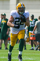 Green Bay Packers fullback Aaron Ripkowski (22) during a training camp practice on August 29, 2017 at Ray Nitschke Field in Green Bay, Wisconsin.   (Brad Krause/Krause Sports Photography)