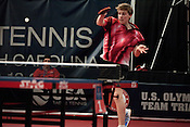 February 11, 2012. Cary, NC.. Michael Landers, who qualified for the continental trials with a 9-2 record this weekend.. The US Olympic Table Tennis Trials were held Feb. 10-12 at Bond Park in Cary. Winners front he trials will return in April to compete in the continental trials with Canada to set the teams for the London Olympics this summer.