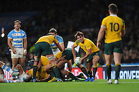 Nick Phipps of Australia passes to Bernard Foley of Australia for the final move of the match during the Semi Final of the Rugby World Cup 2015 between Argentina and Australia - 25/10/2015 - Twickenham Stadium, London<br /> Mandatory Credit: Rob Munro/Stewart Communications