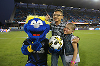 San Jose, CA - Saturday September 16, 2017: First kick, Mascot prior to a Major League Soccer (MLS) match between the San Jose Earthquakes and the Houston Dynamo at Avaya Stadium.