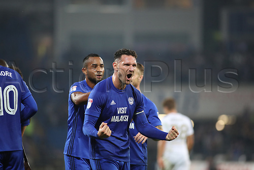 26th September 2017, Cardiff City Stadium, Cardiff, Wales; EFL Championship football, Cardiff City versus Leeds United; Sean Morrison (C) of Cardiff City celebrates as Cardiff City go 3-0 up in the 2nd half