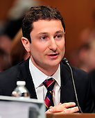 """Fabrice P. Tourre, Executive Director, Structured Products Group Trading, The Goldman Sachs Group, Inc. (GSI), makes his opening remarks as he testifies before the United States Senate Permanent Subcommittee on Investigations hearing on """"Wall Street and the Financial Crisis: The Role of Investment Banks"""" using Goldman Sachs as a case study on Tuesday, April 27, 2010. .Credit: Ron Sachs / CNP.(RESTRICTION: NO New York or New Jersey Newspapers or newspapers within a 75 mile radius of New York City)"""
