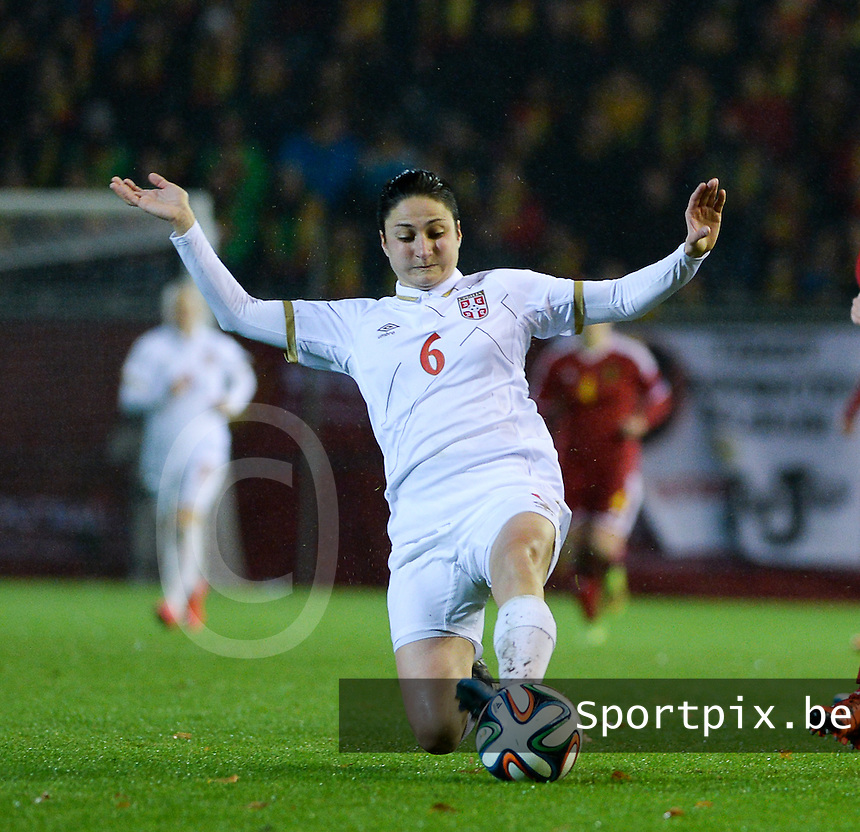 20151130 - LEUVEN ,  BELGIUM : Serbian Nevena Damjanovic pictured during the female soccer game between the Belgian Red Flames and Serbia , the third game in the qualification for the European Championship in The Netherlands 2017  , Monday 30 November 2015 at Stadion Den Dreef  in Leuven , Belgium. PHOTO DAVID CATRY