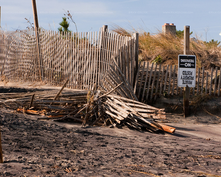 The remains of a dune fence and beach path after the November 2009 nor'easter at Rehoboth Beach, Delaware, USA.