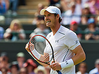 England, London, Juli 02, 2015, Tennis, Wimbledon, Andy Murray (GBR) wins his match against Robin Haase (NED) and jubilates<br /> Photo: Tennisimages/Henk Koster