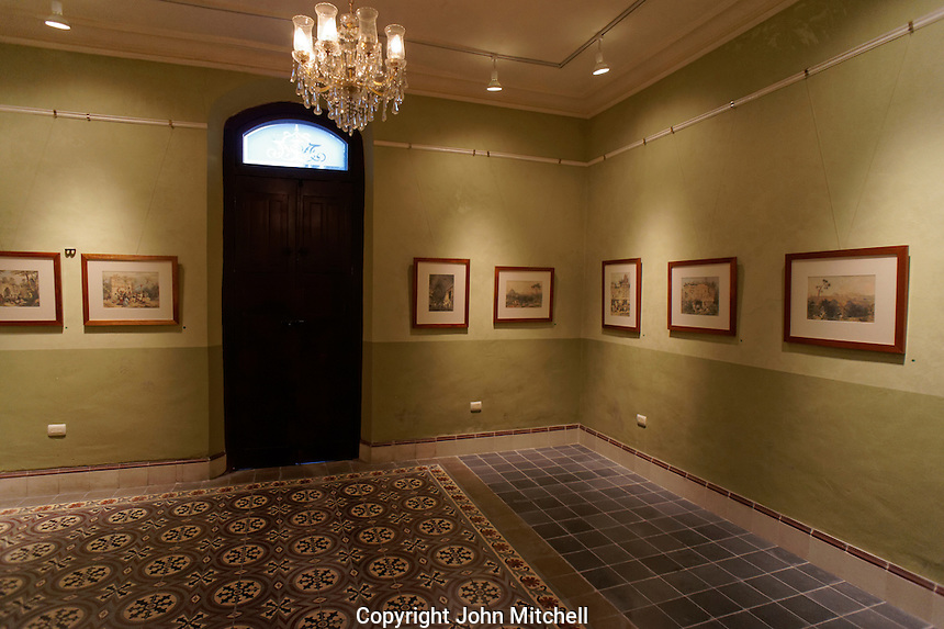 Gallery of original Frederick Catherwood lihographs in the Casa Frederick Catherwood in Merida, Yucatan, Mexico.
