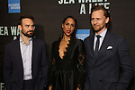 """Charlie Cox, Zawe Ashton and Tom Hiddleston attend the Broadway Opening Night performance of """"Sea Wall / A Life"""" at the Hudson Theatre on August 08, 2019 in New York City."""