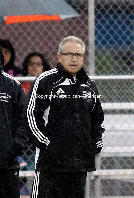 Naugatuck, CT- 01 October 2014-100114CM06-  Torrington boys soccer coach Art Nunes watches his team play Torrington on Wednesday.  Christopher Massa Republican-American