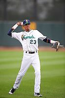 Cedar Rapids Kernels third baseman Nelson Molina (23) warms up before the first game of a doubleheader against the Kane County Cougars on May 10, 2016 at Perfect Game Field in Cedar Rapids, Iowa.  Kane County defeated Cedar Rapids 2-0.  (Mike Janes/Four Seam Images)