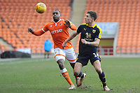 Oxford United's Josh Ruffels under pressure from Blackpool's Donervon Daniels<br /> <br /> Photographer Kevin Barnes/CameraSport<br /> <br /> The EFL Sky Bet League One - Blackpool v Oxford United - Saturday 23rd February 2019 - Bloomfield Road - Blackpool<br /> <br /> World Copyright © 2019 CameraSport. All rights reserved. 43 Linden Ave. Countesthorpe. Leicester. England. LE8 5PG - Tel: +44 (0) 116 277 4147 - admin@camerasport.com - www.camerasport.com