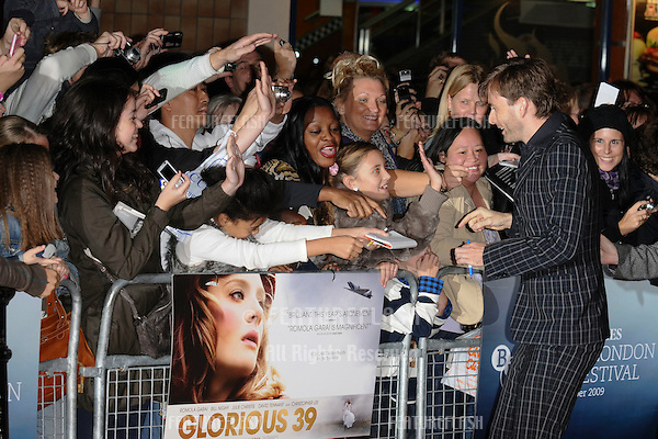David Tennant arriving for the premiere of 'Glorious 39' shown as part of the London Film Festival 2009 at the Vue cinema,  Leicester Square, London. 27/10/2009  Picture By: Steve Vas / Featureflash