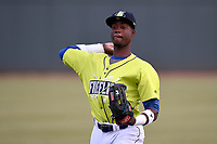 Center fielder Ranfy Adon (3) of the Columbia Fireflies warms up before a game against the Charleston RiverDogs on Thursday, April 4, 2019, at Segra Park in Columbia, South Carolina. Charleston won, 2-1. (Tom Priddy/Four Seam Images)