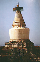 "China:  Chinese Architecture--White Pagoda of Miaoying Temple, Beijing.  Yuan Dynasty 1279 A.D. ""It was said that the pagoda was designed by a Nepalese.... Lamaism not until Yuan did such designs appear in North and Central China."