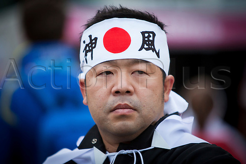 11.10.2015. Kingsholm Stadium, Gloucester, England. Rugby World Cup. USA versus Japan. A Japan fan pictured outside Kingsholm Stadium before kick-off.