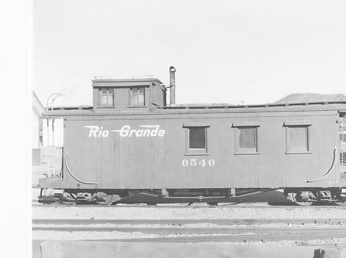 Long caboose #0540 in Durango.<br /> D&amp;RGW  Durango, CO  Taken by Payne, Andy M. - 12/12/1968