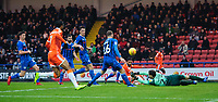 Blackpool's Liam Feeney watches as Rochdale's Brendan Moore pushes the ball clear<br /> <br /> Photographer Chris Vaughan/CameraSport<br /> <br /> The EFL Sky Bet League One - Rochdale v Blackpool - Wednesday 26th December 2018 - Spotland Stadium - Rochdale<br /> <br /> World Copyright &copy; 2018 CameraSport. All rights reserved. 43 Linden Ave. Countesthorpe. Leicester. England. LE8 5PG - Tel: +44 (0) 116 277 4147 - admin@camerasport.com - www.camerasport.com