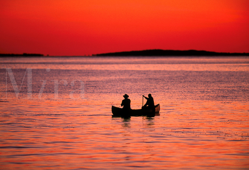 Fishing from a canoe, Martha's Vineyard,